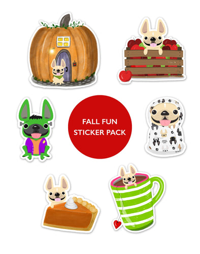 FALL FUN STICKER PACK - Set of 6 - Waterproof Vinyl Stickers