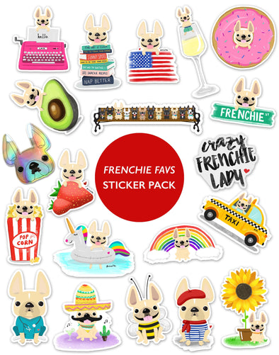 FRENCHIE FAVS STICKER PACK - Set of 20 - BEST DEAL - Waterproof Vinyl Stickers