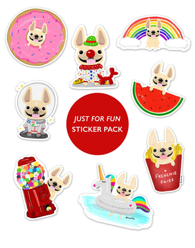 JUST FOR FUN STICKER PACK - Set of 8 - Waterproof Vinyl Stickers