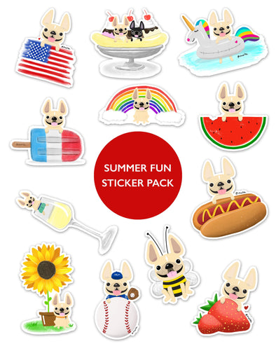 SUMMER FUN STICKER PACK - Set of 12 - Waterproof Vinyl Stickers