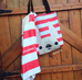 Cream / Red Striped French Bulldog Tote Bag - French Bulldog Love - 2