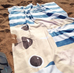 Cream / Navy Striped French Bulldog Beach Towel - French Bulldog Love - 2