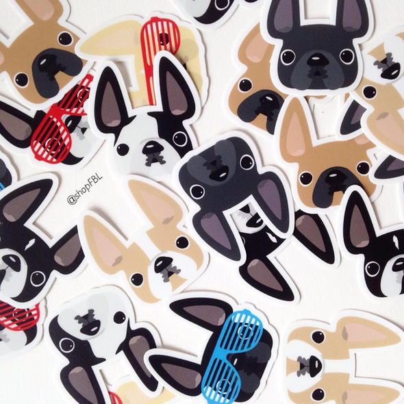 White Spotted / French Bulldog Mini Sticker