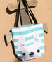 White Spotted / Striped French Bulldog Tote Bag - French Bulldog Love - 2