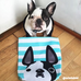 Black Pied / Teal Striped French Bulldog Tote Bag - French Bulldog Love - 2