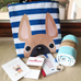 Fawn / Navy Striped French Bulldog Tote Bag - French Bulldog Love - 2