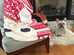 Cream on Red Mono / Geometric French Bulldog Fleece Blanket - XL - French Bulldog Love - 2