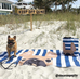 Fawn / Navy Striped French Bulldog Beach Towel - French Bulldog Love - 4