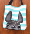 Brindle / Teal Striped French Bulldog Tote Bag - French Bulldog Love - 2