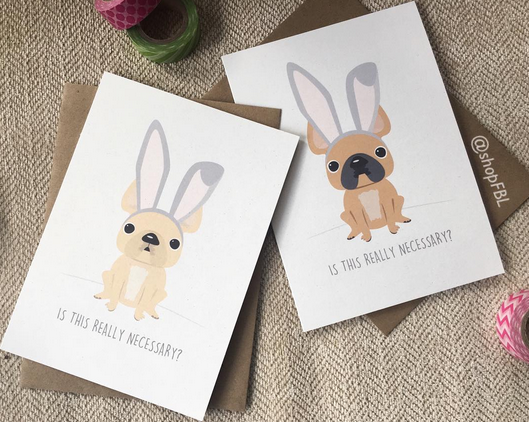 French Bunny - Easter Card