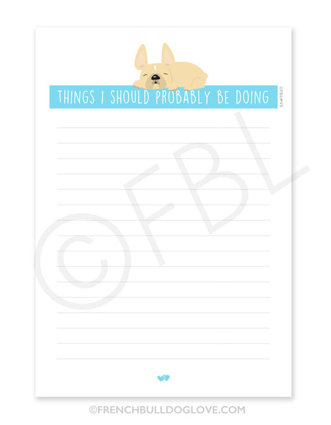 Naptime / Cream French Bulldog Notepad