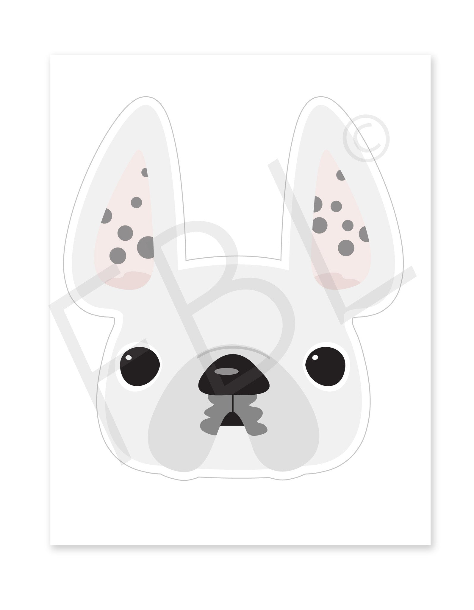 White Spotted New / Large French Bulldog Sticker