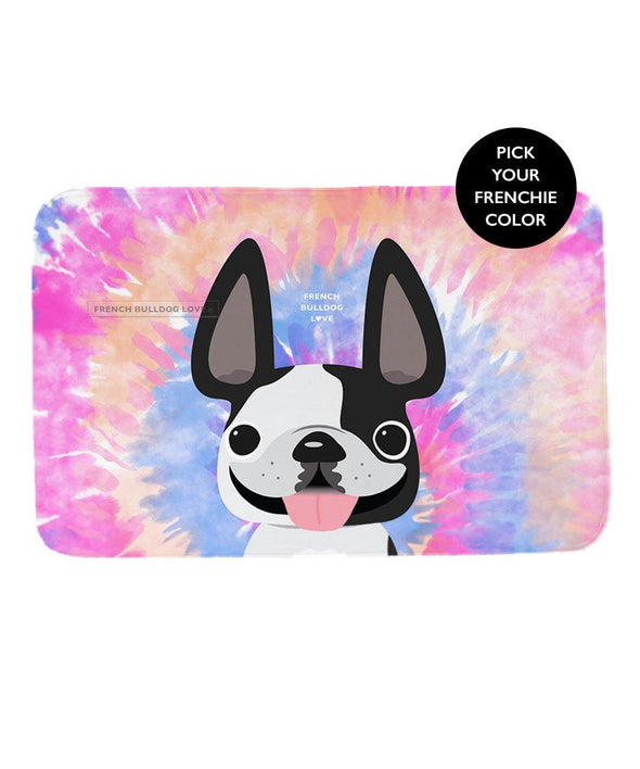 French Bulldog Tie Dye Foam Bath Mat - Pinks