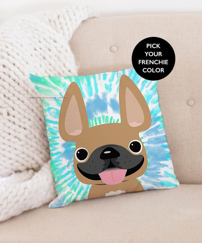 French Bulldog Tie Dye Pillow - Blues