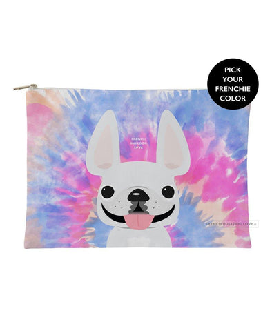 Tie Dye Frenchie Pouch - Pinks - Large