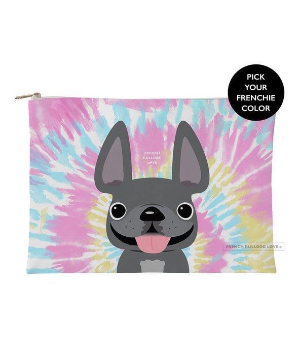 Tie Dye Frenchie Pouch - Cotton Candy - Large