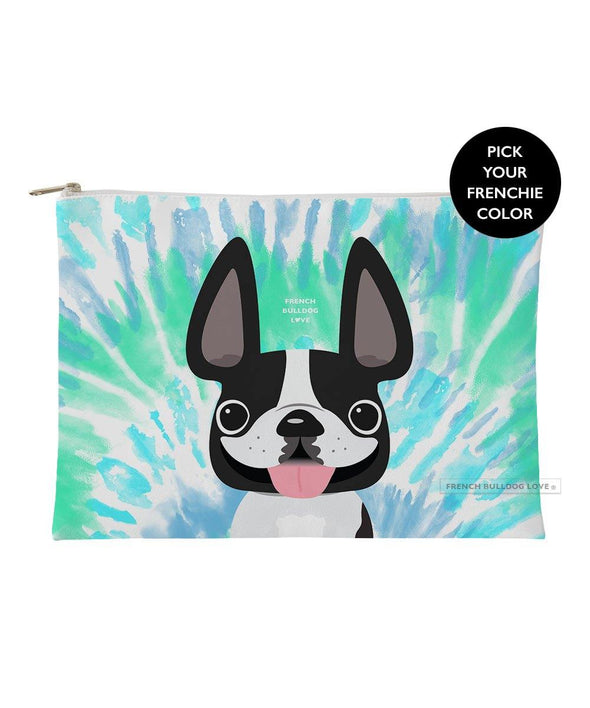 Tie Dye Frenchie Pouch - Blues - Large