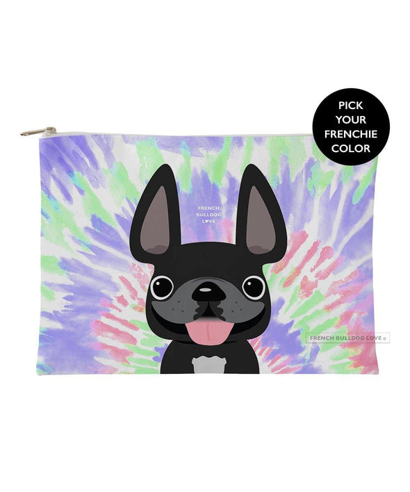 Tie Dye Frenchie Pouch - Retro - Large