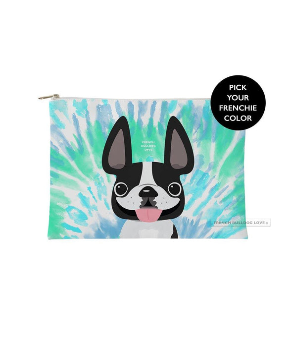 Tie Dye Frenchie Pouch - Blues - Small