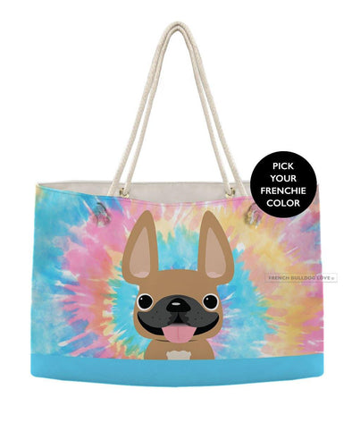 Tie Dye Weekender Rope Bag - Classic - by French Bulldog Love
