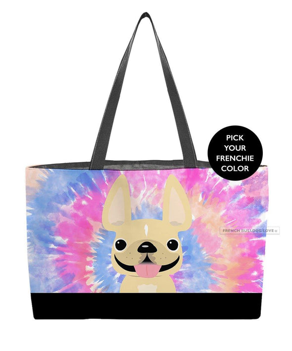 Tie Dye Weekender Bag - Pinks - by French Bulldog Love