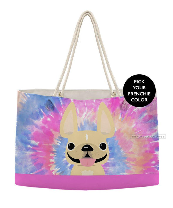 Tie Dye Weekender Rope Bag - Pinks - by French Bulldog Love