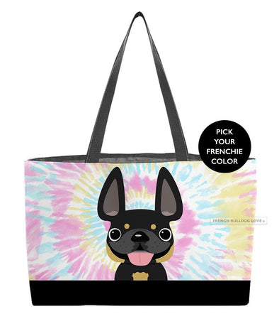 Tie Dye Weekender Bag - Cotton Candy - by French Bulldog Love