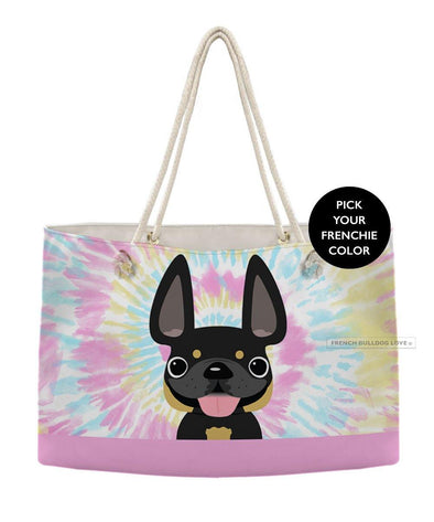 Tie Dye Weekender Rope Bag - Cotton Candy - by French Bulldog Love