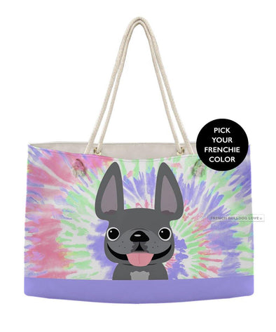 Tie Dye Weekender Rope Bag - Retro - by French Bulldog Love