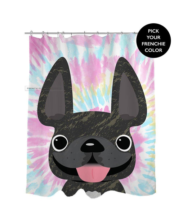 French Bulldog Tie Dye Shower Curtain - Cotton Candy