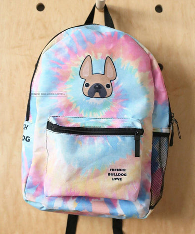 READY TO SHIP - French Bulldog Backpack - Tie Dye Classic Fawn - by French Bulldog Love - French Bulldog Love
