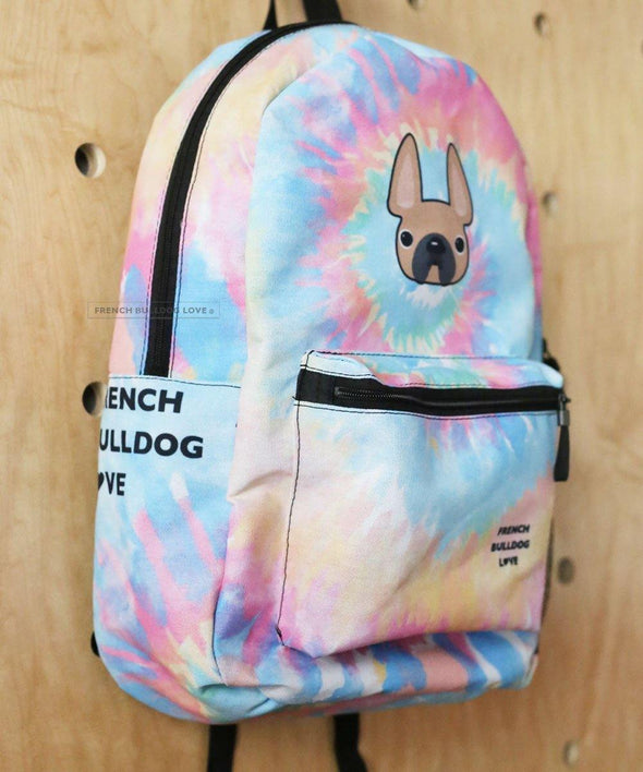 READY TO SHIP - French Bulldog Backpack - Tie Dye Classic Fawn - by French Bulldog Love