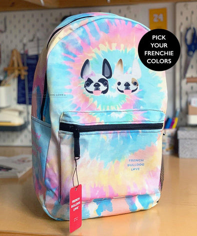 Tie Dye Backpack - 2 Frenchies - by French Bulldog Love - CLASSIC - French Bulldog Love
