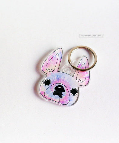 Tie Dye Frenchie Keychain - Clear Acrylic