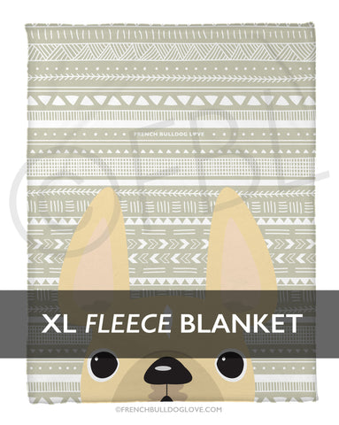Cream on Beige Mono / Geometric French Bulldog Fleece Blanket - XL - French Bulldog Love - 1