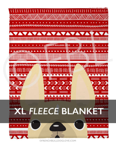 Cream on Red Mono / Geometric French Bulldog Fleece Blanket - XL - French Bulldog Love - 1