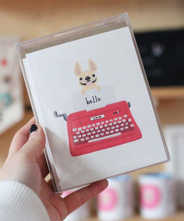 #100DAYPROJECT French Bulldog Note Cards Box Set of 12 - TYPEWRITER