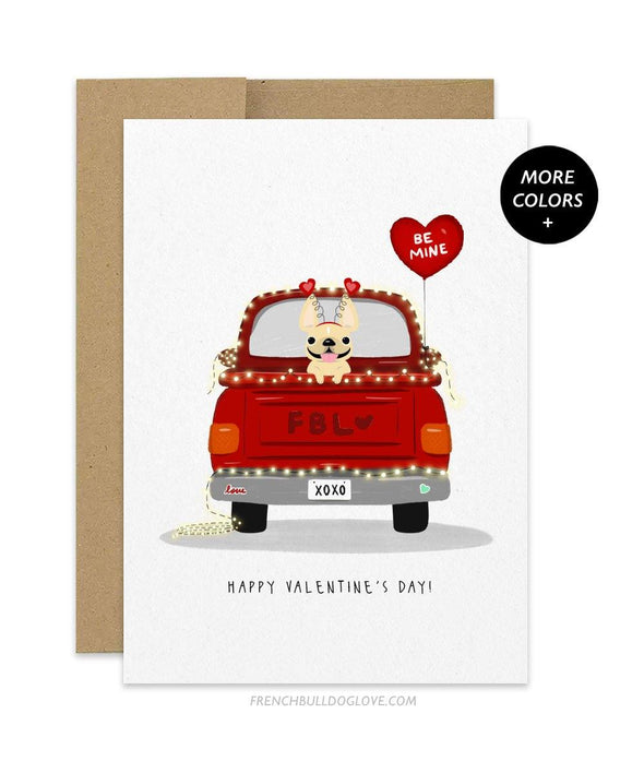 Love Truck - Single Frenchie - French Bulldog Greeting Card