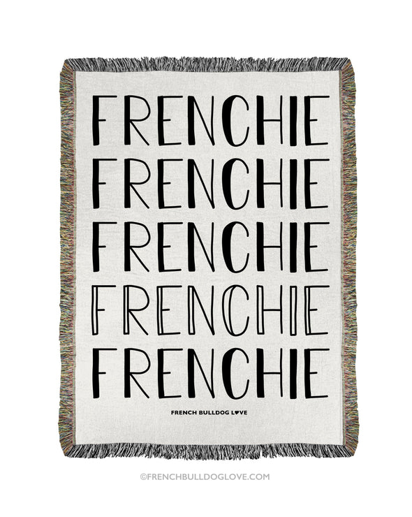 FRENCHIE Woven Blanket - Natural - 100% Cotton - Small