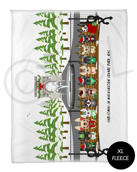 Christmas in Washington Square Park - French Bulldog Holiday Fleece Blanket - XL