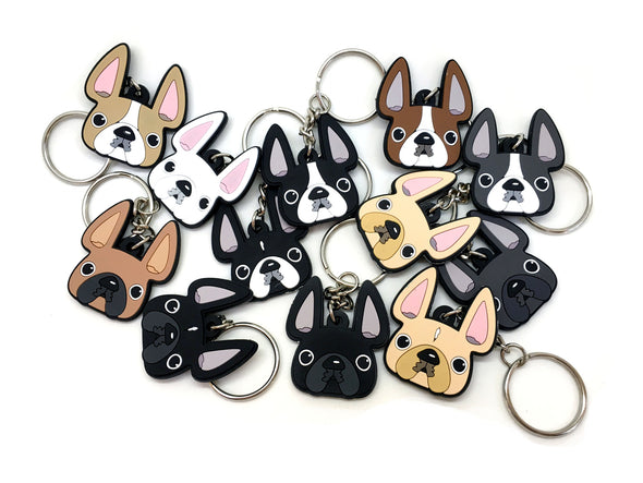 Frenchie Face Mini Keychain / Black with White Stripe - French Bulldog Love - 3