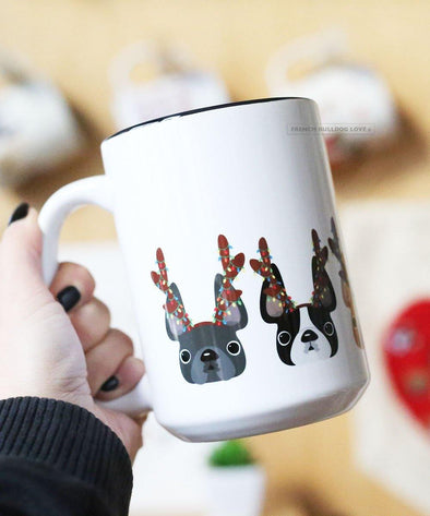 Antlers - French Bulldog Coffee Mug 15 oz