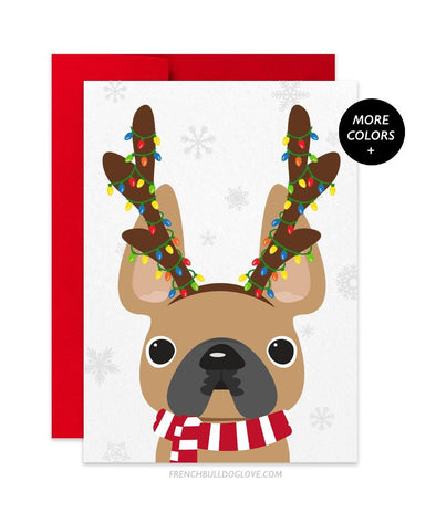 Antlers French Bulldog Holiday Card