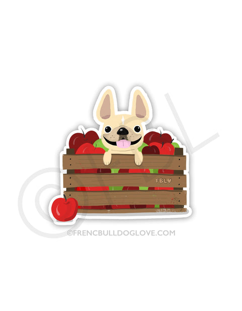 #100DAYPROJECT 50/100 - APPLE PICKING VINYL FRENCH BULLDOG STICKER