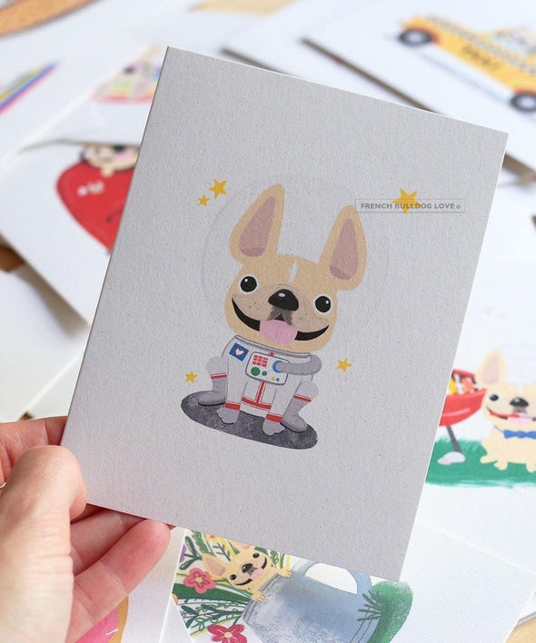 #100DAYPROJECT French Bulldog Note Cards Box Set of 12 - ASTRONAUT