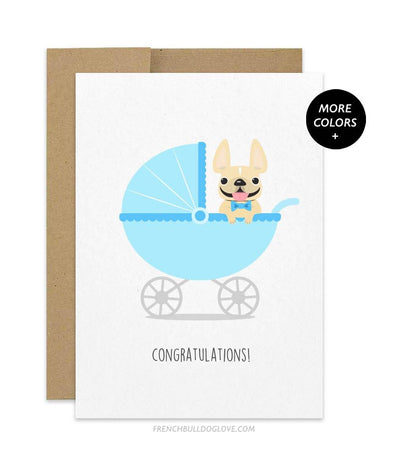 Bassinet Baby Boy - French Bulldog Baby Card