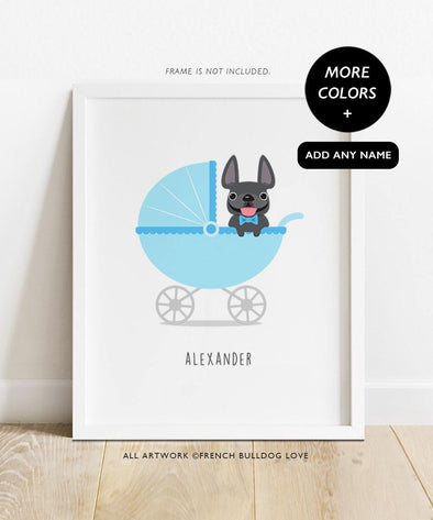 Baby Boy Bassinet Print - Custom French Bulldog Print 8x10