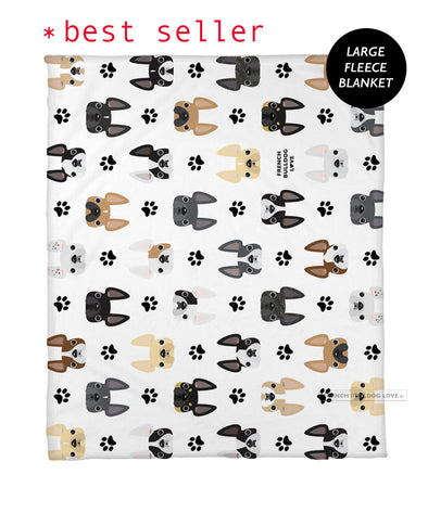 The Classic Frenchie Fleece Blanket - Large
