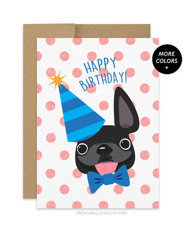 Polka Dot - Red - Frenchie Birthday Card - Boy