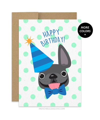 Polka Dot - Green - Frenchie Birthday Card - Boy